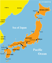 Map Fo Japan With Many Japan Towns