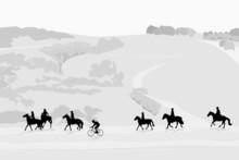 Illustration Of Horseback Riding Tour