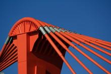 Orange Pylon Of Bridge