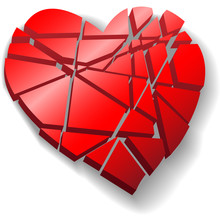 Shattered Red Valentine Heart ...