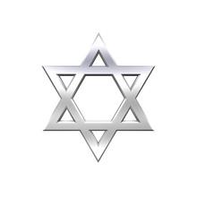 Chrome Judaism Religious Symbol Isolated On White.