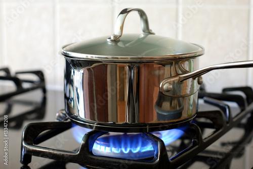 Fotografía  Pot on the gas stove