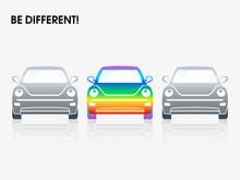 Rainbow Car Between Gray Ones ...