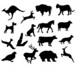 assorted animal silhouettes bear bison dog and deer