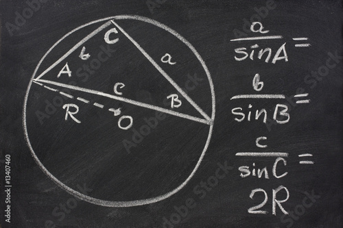trigonometry law explained on blackboard