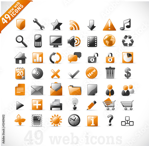 Fotografie, Obraz  new set of 49 most popular icons on the web / orange