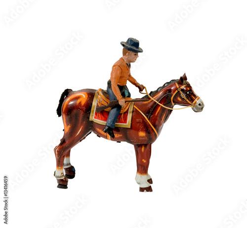 Photo  ANTIQUE TIN COWBOY WITH HORSE