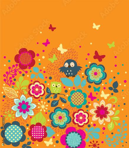 Fototapeta Cute Owls and Butterflies obraz na płótnie