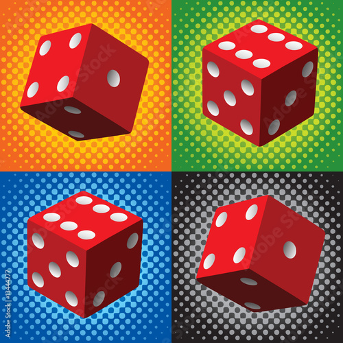 Photo  Halftone red dice