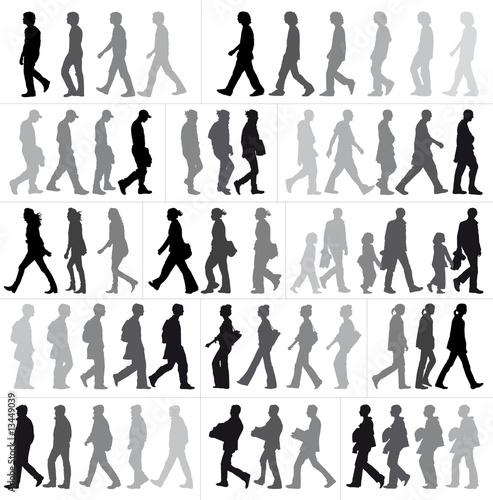 Foto  silhouettes en marche