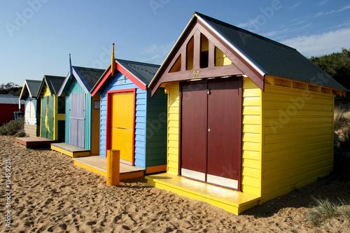 Foto op Canvas Oceanië Bathing boxes at Brighton beach, Melbourne