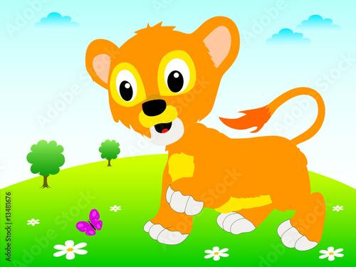 Poster de jardin Zoo Young lion background