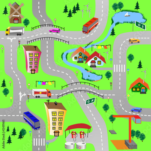 Poster de jardin Route Green city
