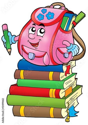 Foto-Stoff - Pink school bag on books (von Klara Viskova)