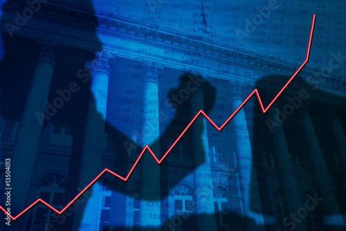 Fotografering  bourse-trader-hausse