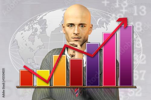 Fotografering  graphique-finance-monde
