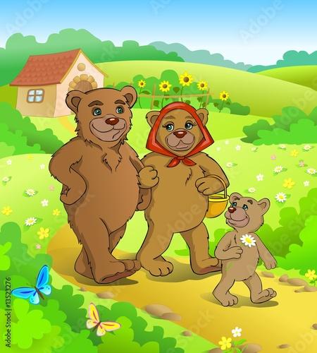 Foto-Lamellen (Lamellen ohne Schiene) - Fairy tale. Three bears walking home. (von Regisser.com)