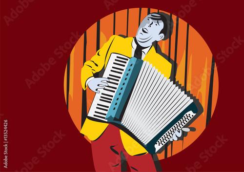 Fototapety Muzyka a-man-with-accordion