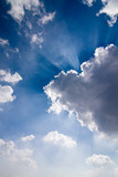 Fototapeta Fototapeta z niebem - Sun rays through clouds - photo of amazing sky