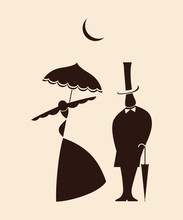 Victorian Love: Man And Woman Dating Under Moon