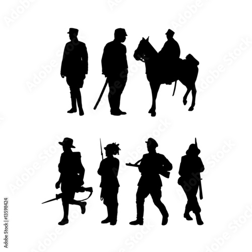 Fotografiet vector silhouette for cavalry army