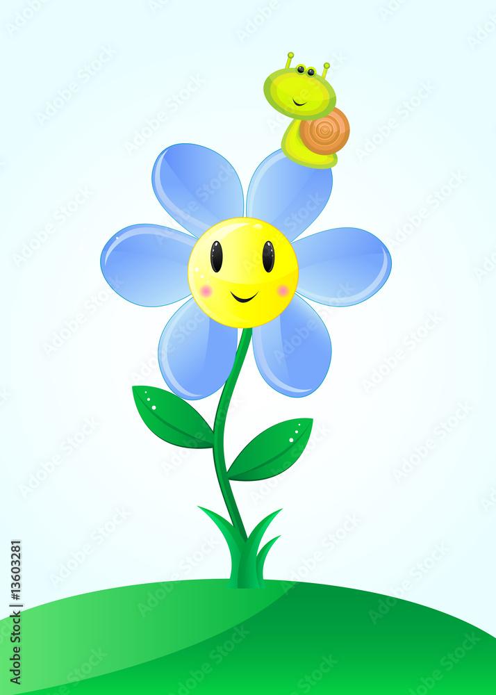 Foto-Lamellen (Lamellen ohne Schiene) - Little friends: flower and snail