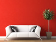 Leinwanddruck Bild - interior design of white couch on red wall