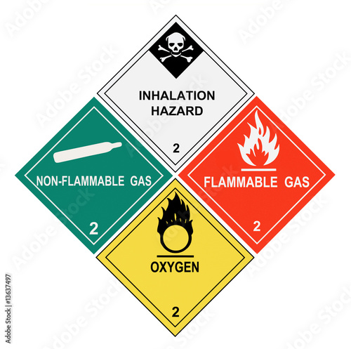Fotografie, Obraz  Gases Warning Labels