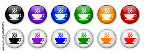 """Fényképezés  Boutons """"Pause Café"""" (x12 - Multicolores)"""