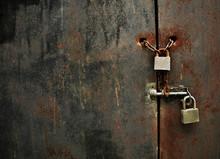 Lock On Rusty Iron Door
