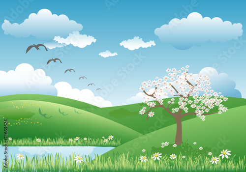 Wall Murals Birds, bees Landscape with blooming tree