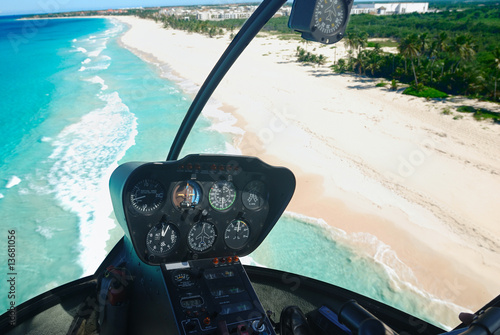 Poster Helicopter Caribbean beach aerial view