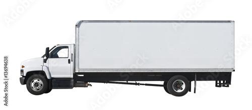Fototapeta White truck isolated on white background obraz