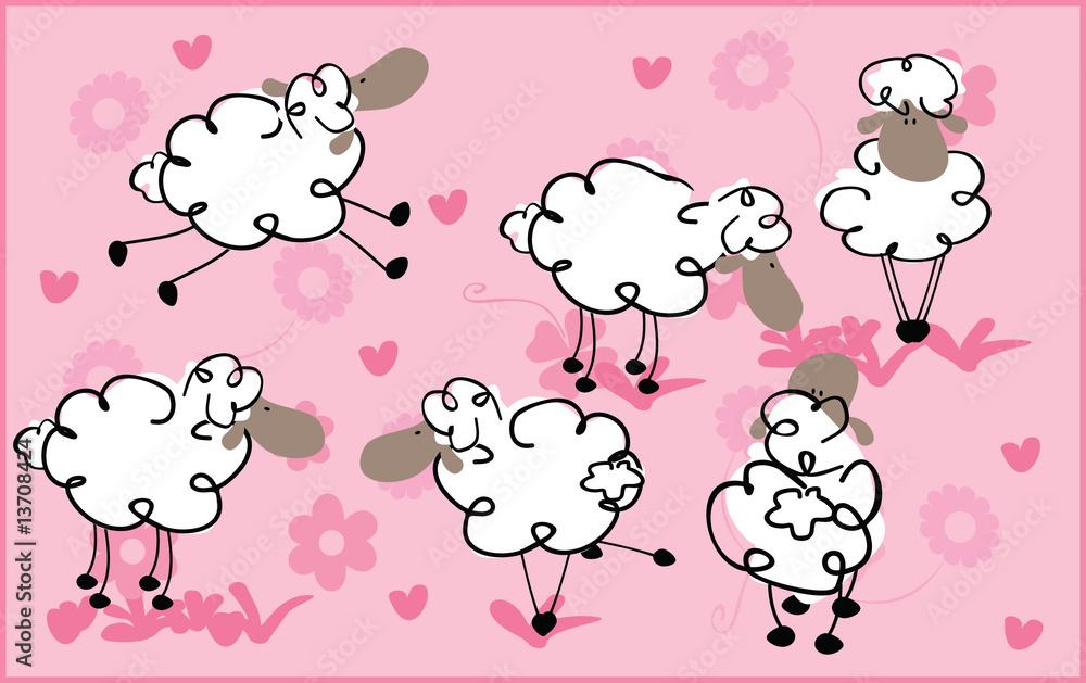 Foto-Lamellen (Lamellen ohne Schiene) - retro sheeps