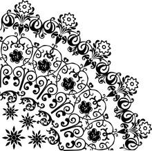 Black Flower Quadrant Pattern