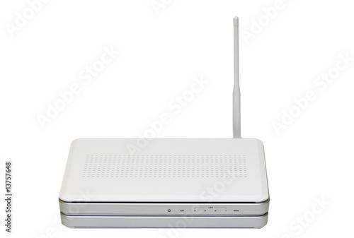 Fotografie, Obraz  Internet wireless router isolated on white background