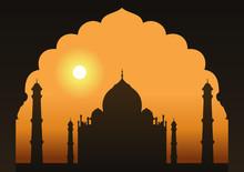 A View Of The Taj Mahal Framed Through A Doorway.
