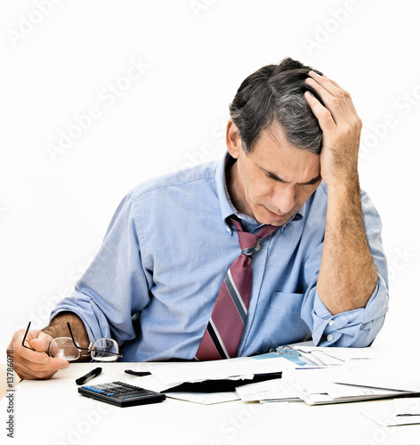 Fotografía  Man Worrying About Paying Bills and Bankruptcy