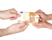 4 Hands Are Fighting Over 200 EUROS. Pulling In Each Direction