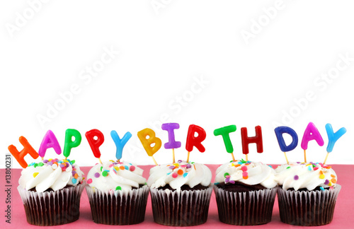 фотография  Happy Birthday Cupcakes with candles and white background