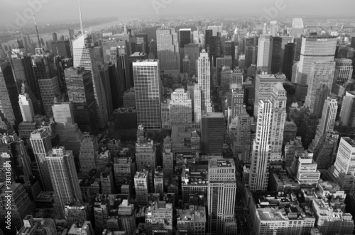 Foto op Plexiglas New York TAXI Skyline New York b/w querformatig