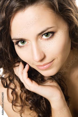 Valokuva  Close-up studio portrait of a beautiful young sexy woman, isolat