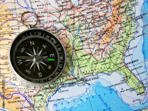 Compass On Map Of Usa Buy This Stock Photo And Explore Similar