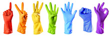 Raibow Color Rubber Gloves On ...