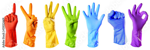 Fotografia, Obraz  raibow color rubber gloves on white with clipping path