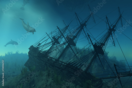 Cuadros en Lienzo Shipwreck Beneath the Sea - 3d render