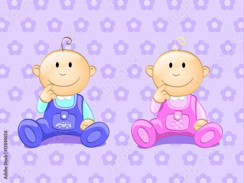 Foto-Lamellen (Lamellen ohne Schiene) - two babies (editable layers) (von flameia)