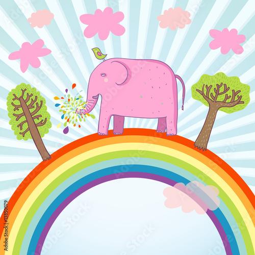 In de dag Regenboog Cartoon summer illustration - cute pink elephant on a rainbow