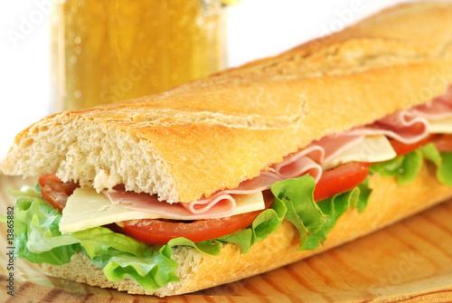 Staande foto Snack baguette sandwich with beer