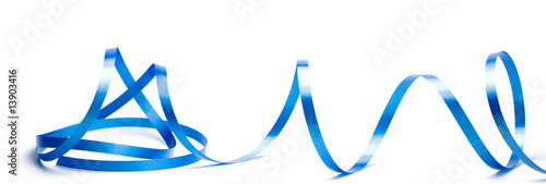 Obraz na plátně image d'un serpentin bleu sur un fond blanc